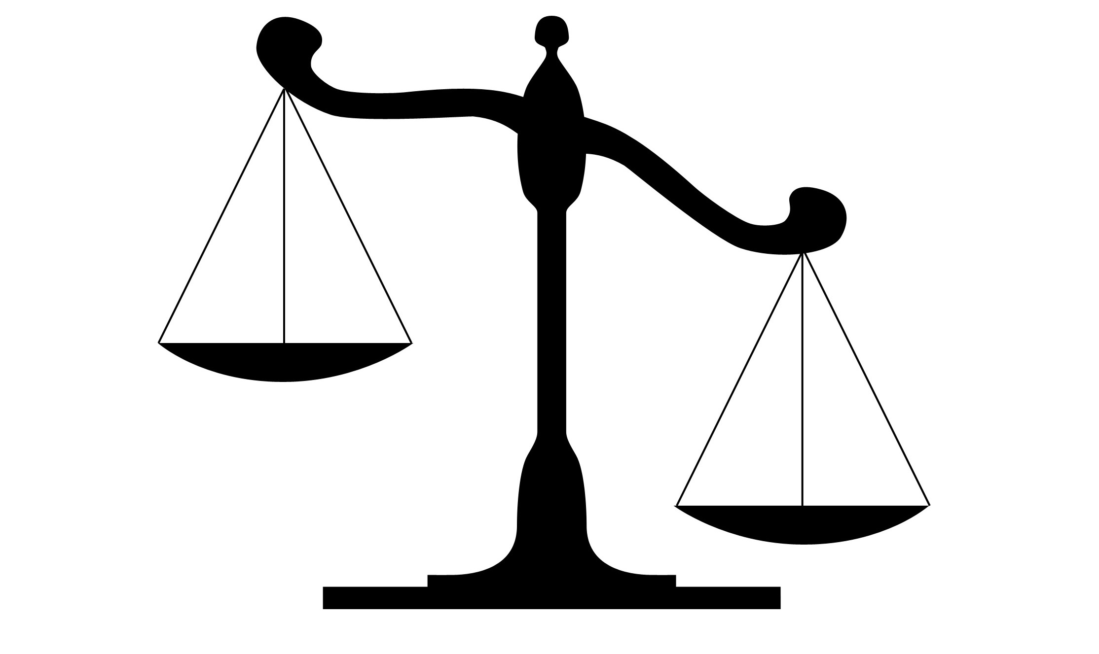 This image shows a scale to represent the justice system and how it is balanced between the different positions involved.