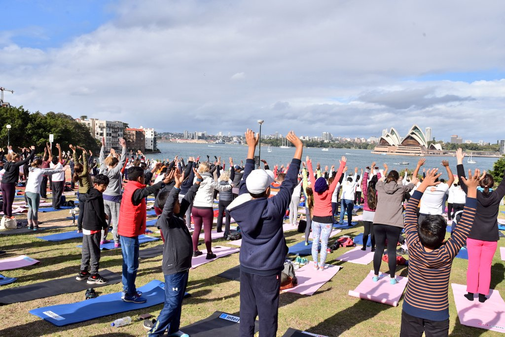 This is an image of the International Yoga Day 2019 event organized by Embassy of India in Sydney