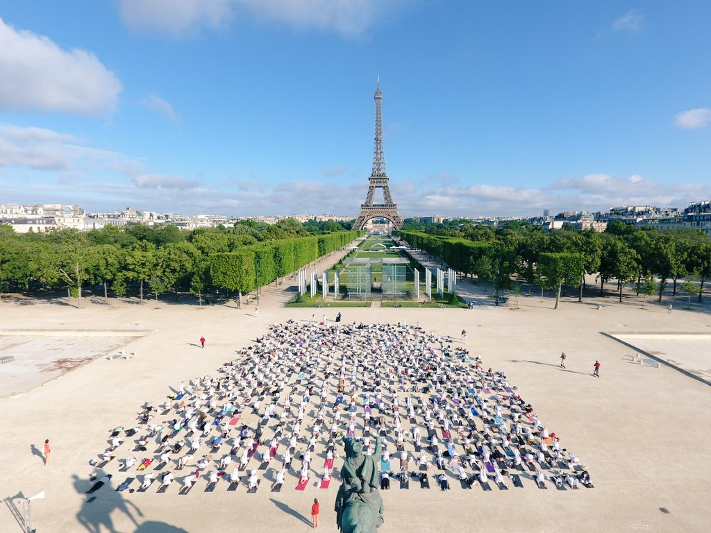 This is an image of the International Yoga Day 2019 event organized by Embassy of India in Paris