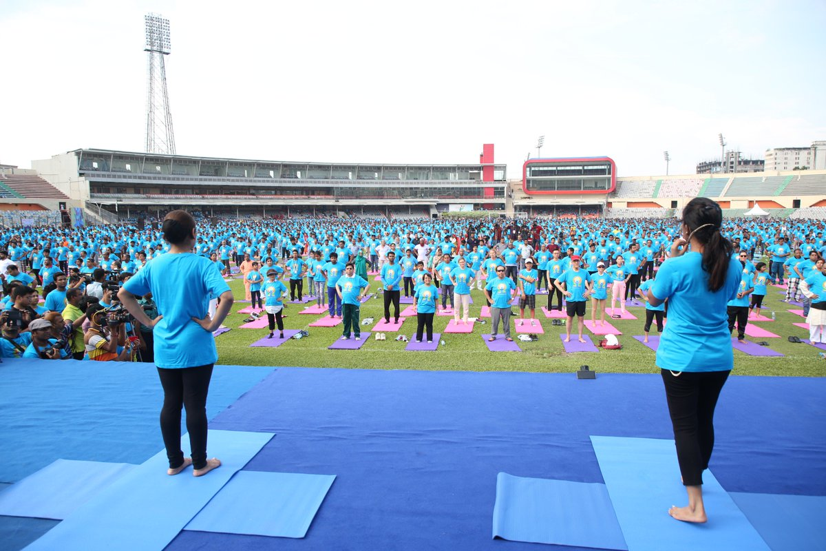 This is an image of the International Yoga Day 2019 event organized by Embassy of India in Dhaka