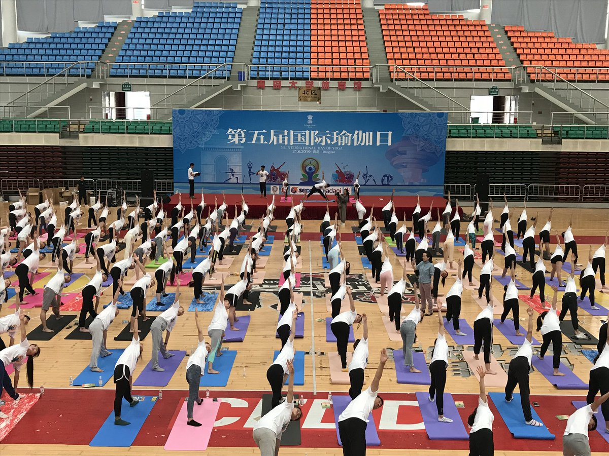 This is an image of the International Yoga Day 2019 event organized by Embassy of India in Guangzhou