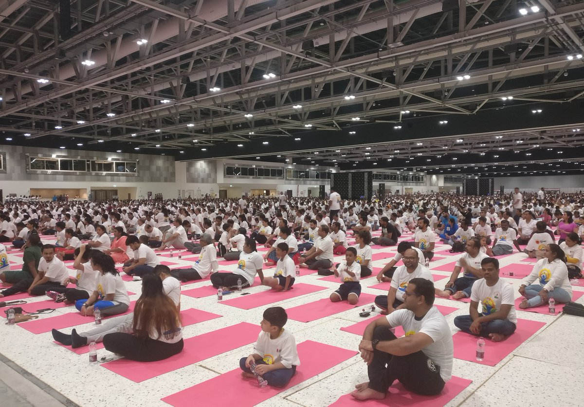 This is an image of the International Yoga Day 2019 event organized by Embassy of India in Muscat