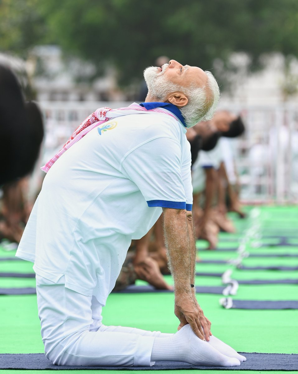 This is an image of Indian PM Narendra Modi on International Day of Yoga 2019