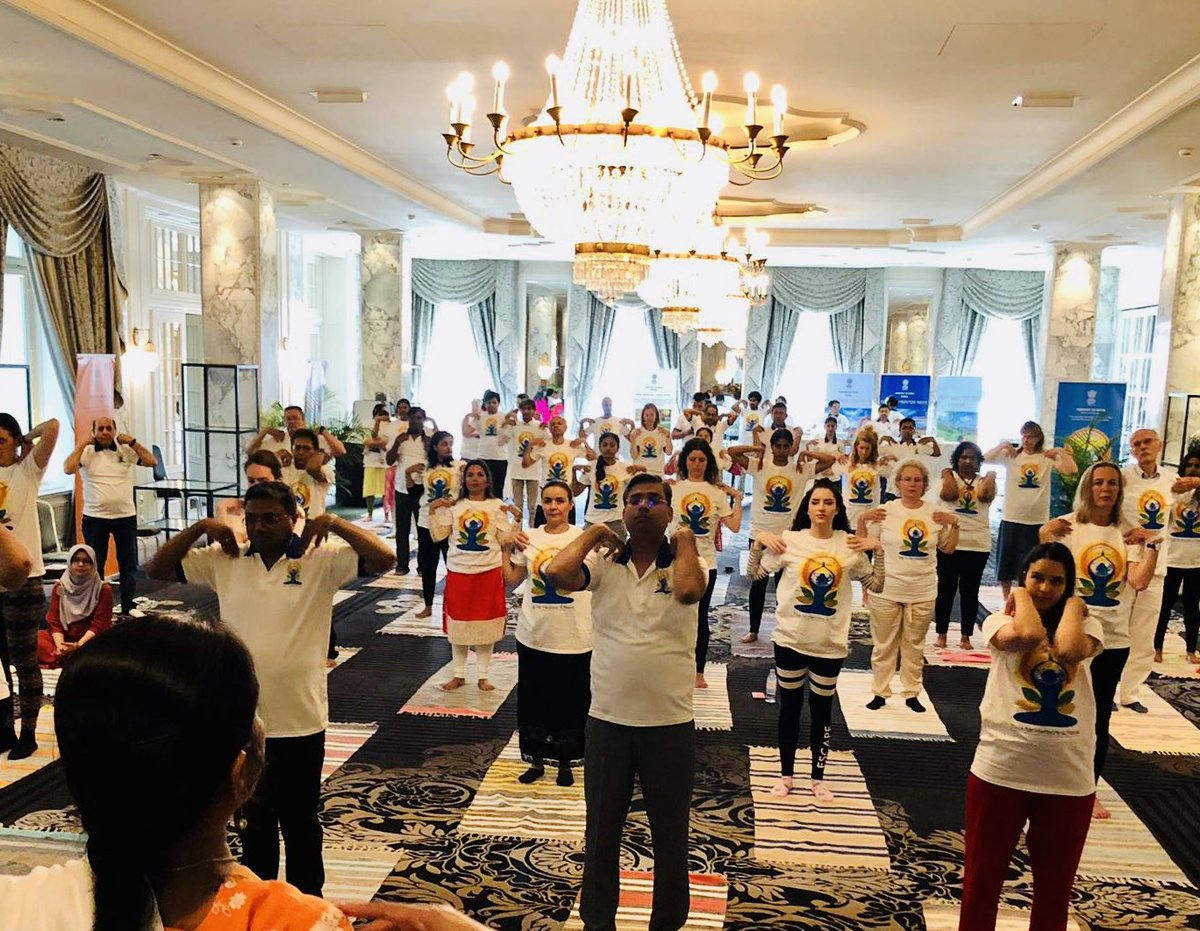 This is an image of the International Yoga Day 2019 event organized by Embassy of India in Switzerland