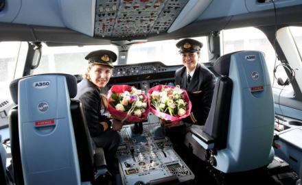 In a first for Qatar Airways, an all-female crew operates a flight from Brussels to Doha