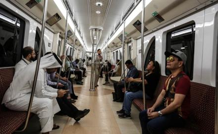 Excited commuters enjoy their first ride on Doha Metro