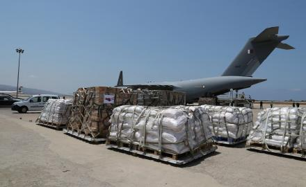 Qatar sends second shipment of food aid to Beirut for Lebanese army
