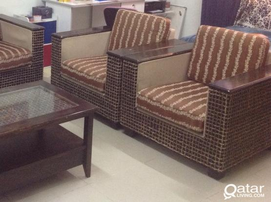 Sofa set 3+1+1 and Table......wooden