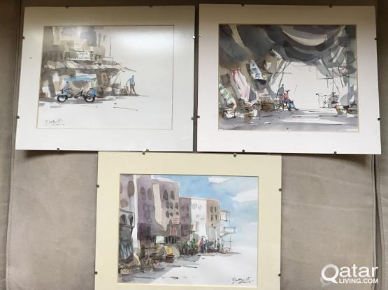 3 framed paintings from Bangkok