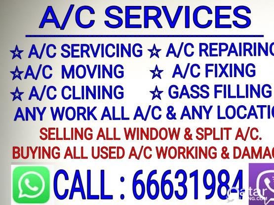 A/C SERVICING,SELL & BUYING.REPAIRING,MOVING,FIXIN & ANY WORK ALL A/C.66631984