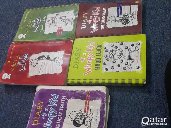 Diary Of A Wimpy Kid 5 Books (2 Arabic, 3 English)