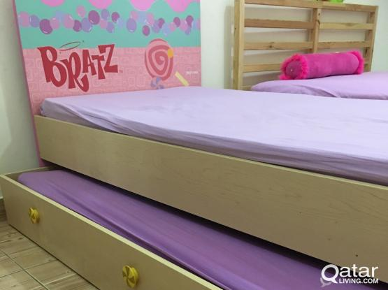 Single Bed with Pullout Bed Free Mattress