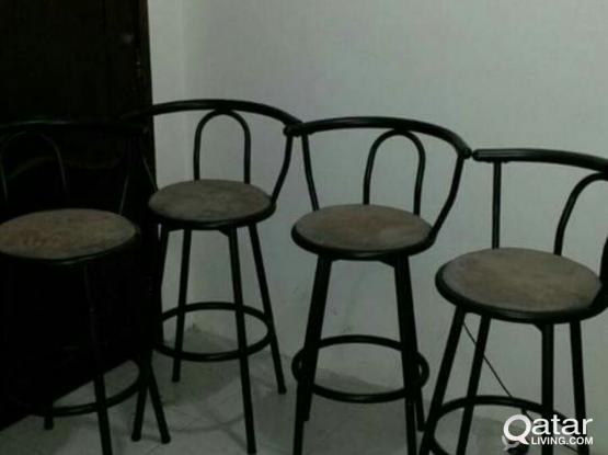 Dining table with 6 chairs with cabenit & 4 stool chairs