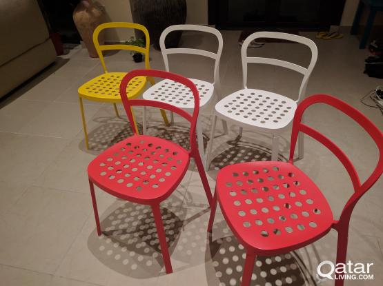 Ikea Reidar Metal Chairs- 2 Red, 2 Yellow & 2 White 300 per pair or 800 in total