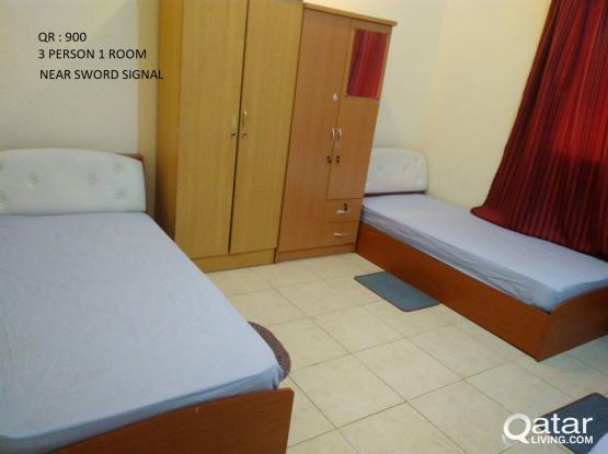 fully furnished BED SPACE,( SWORD SIGNAL900)MUNTAZA 900)(700) MANSOORA ALMEERA 900 , 1000