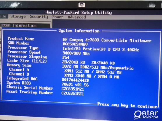 HP COMPAQ DC7600 MINITOWER CPU WITH DUAL PROCESSOR