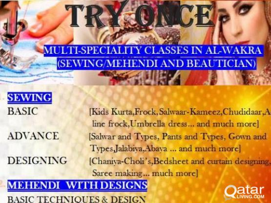 TRY ONCE- MULTI SPECIALITY CLASSES SEWING,MEHENDI AND BEAUTICIAN