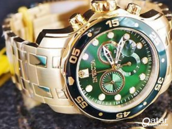 Pro Diver Chronograph Green Dial 18kt Gold-plated