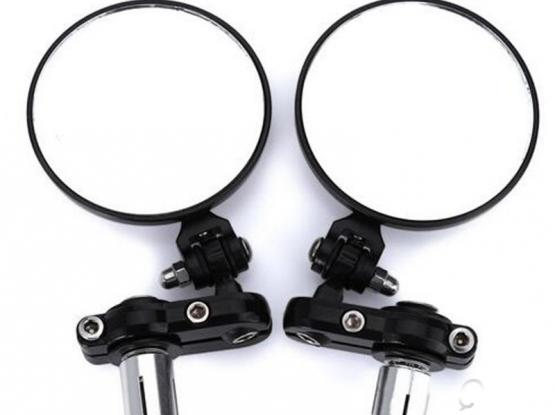 Motorcycle Rear View Handle Bar Circular Foldable Blindsight Side Convex Mirror