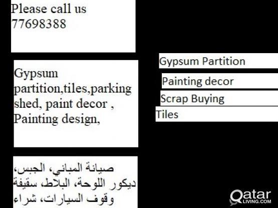 House Maintenance ,Gypsum partition,tiles,parking shed, paint decor , Painting design, Ple