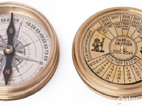 (40 Years) Calendar Antique Look Brass Compass
