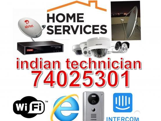 PROFESIONAL CCTV INSTALLATION WITH ONE YEAR WARRANTY INDIAN TECHNICIANS DISH ANTENNA  WIFI