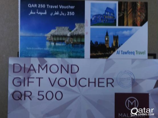 TRAVEL VOUCHER 250 QR + DIAMOND GIFT VOUCHER 500 QR FOR FREE