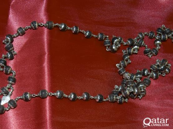Red Sandalwood Silver Necklace