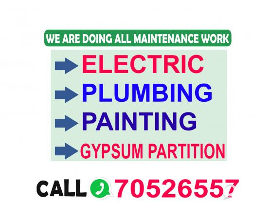 PLUMBING ELECTRIC PAINTING GYPSUM PARTITION CERAMIC MASON SERVICE.CALL 70526557.
