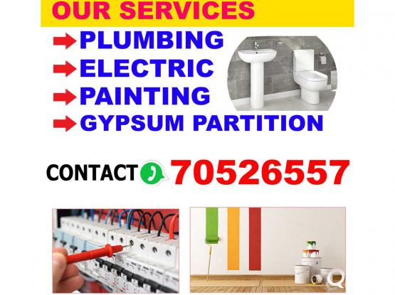 ELECTRIC PLUMBING PAINTING GYPSUM PARTITION MASON SERVICE.CALL 70526557.
