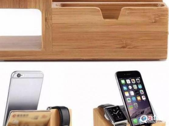Bamboo Charging Dock Station for iPhone Watch