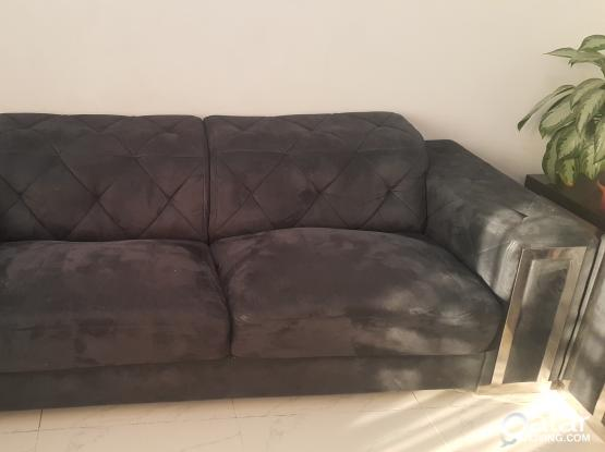 2x black sofa