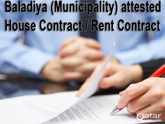Baladiya Attested Rent contract of Genuine Property for Resident & Visit Visa