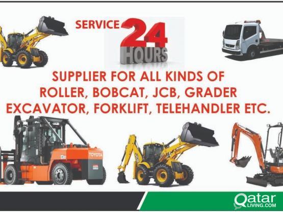 24 Hours Service SUPPLIER FOR ALL KINDS OF ROLLER, BOBCAT, JCB, GRADER EXCAVATOR, FORKLIFT, TELEHAND