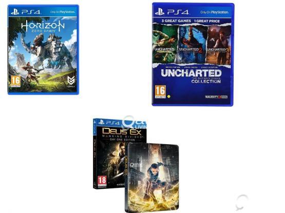 Ps4 Uncharted,Horizon zero dawn , Deus Ex