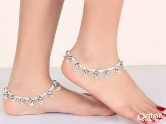 Female Anklets ( pair) pure silver 925- arnd 45grams