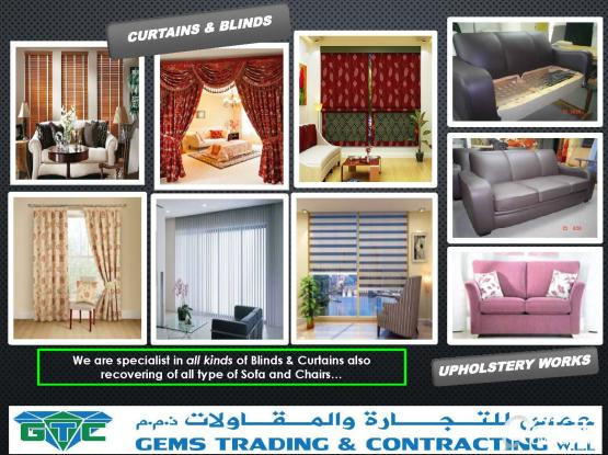 Curtain, Blinds and Recovering Sofa Upholstery Works.