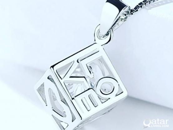 Pure Silver Jewelry- Love Heart Cube pendant with chain