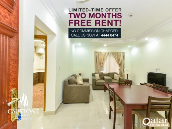 FREE 2 MONTHS ▬ Spacious 2BR FF Apartment in Al Sadd ▬ NO COMMISSION!