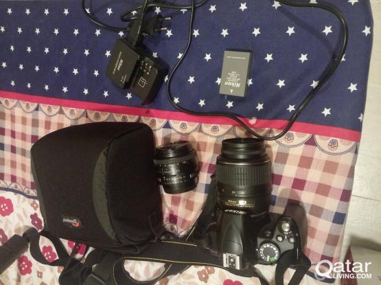 Nikon DSLR D3000 with Kit Lens + 50mm prime lens