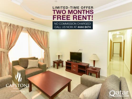 FREE 2 MONTHS!!! No Agency Fee!! 3BR FF Apartment in Al Sadd
