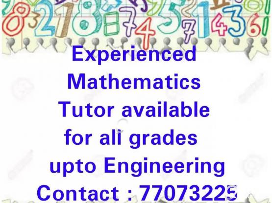 Maths Tuition available for any location @ 77073225