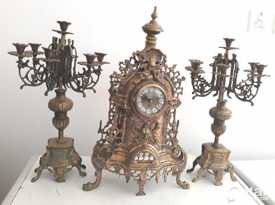 Vintage set of table clock and candelabras