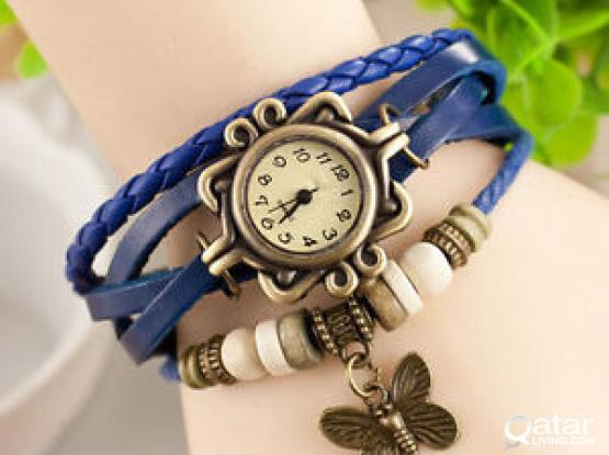Vintage Butterfly Lady's Leather Watch