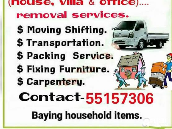 We do less price' House shifting, moving, carpentery pickup/truck  & transportation services =55157306