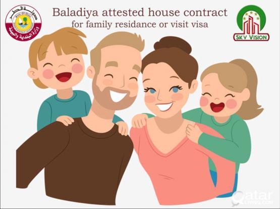 House Contract (Baladiya Attested) for Residence & Visit Visa