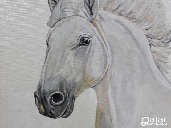 Hand painted drawing of Horse using Acrylic paint in 9.5x12 Canvass