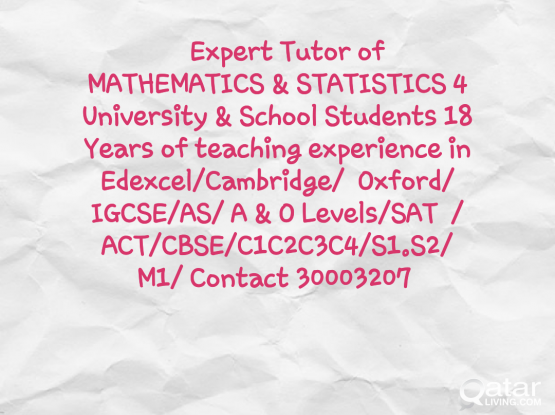 Math Tutor 4 Edexcel/Cambridge Oxford/IGCSE/SAT/ACT/AS/A&O level
