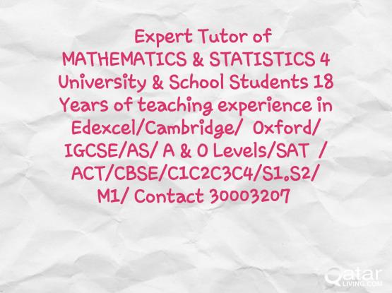 Math Tutor 4 Edexcel/Cambridge Oxford/IGCSE/SAT/ACT/AS/A&O level