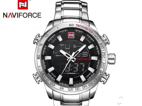 Naviforce Elegant Men's Casual LED Digital Analog Quartz Date Stainless Steel Watches for sale